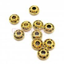 Fémgyöngy - circles - antik arany színű - 6mm