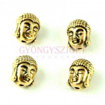 Fémgyöngy - Buddha fej - antik arany színű - 9x11mm