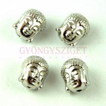 Fémgyöngy - Buddha fej - platina színű - 9x11mm