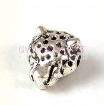 Fémgyöngy - leopárd - platina színű - 8x13mm