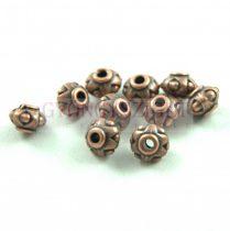 Fémgyöngy - Dots - vörösréz színű - 7x5mm