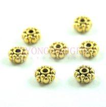 Fémgyöngy - Dots - arany színű - 8x4mm