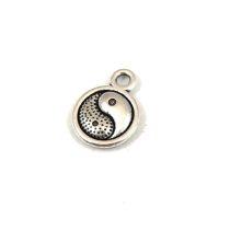 Medál - jin-jang - antik ezüst színű - 10mm