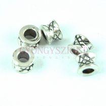 Fémgyöngy - henger - platina színű - 7x5mm