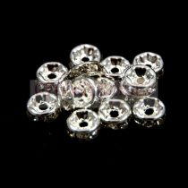 Rondelle ezüst színű - crystal strasszal - 8mm