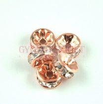 Rondelle - rose gold színű - crystal strasszal - 8mm