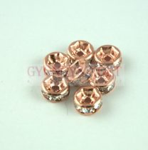 Rondelle - rose gold színű - crystal strasszal - 6mm