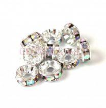 Rondelle - ezüst színű - crystal strasszal - 4mm