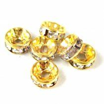 Rondelle - arany színű - crystal strasszal - 8mm