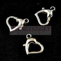 Delfinkapocs - szív - ezüst színű - 10x11mm