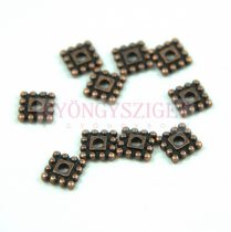 Fémgyöngy - beaded square - vörösréz színű - 12mm