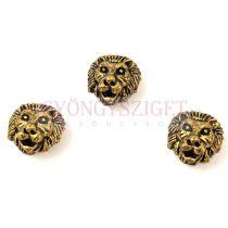 Fémgyöngy - oroszlán - antik arany színű - 8x13mm