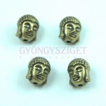 Fémgyöngy - Buddha fej - antik sárgaréz színű - 9x11mm