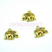 Medál -  Elephant - arany színű - 13mm