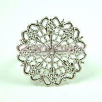 Gyűrűalap - áttört virágmintás - ezüst színű - állítható - 25mm