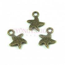 Medál - tengeri csillag - antik sárgaréz színű - 17x12mm