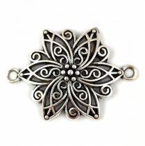 Fém gyöngy - Rondelle - fekete színű - kristály cirkóniás - 7x3mm
