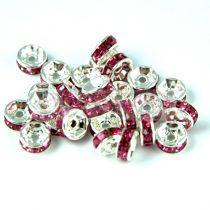 Rondelle ezüst színű - rose - 4mm