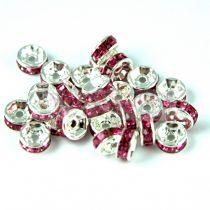 Rondelle ezüst színű - rose - 6mm