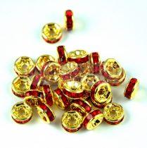 Rondelle arany színű - light siam strasszal - 6mm