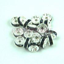 Rondelle ezüst színű - montana strasszal - 6mm