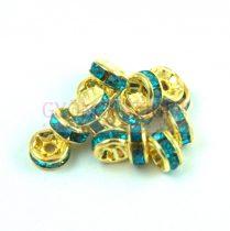 Rondelle arany színű - light turquoise strasszal - 6mm