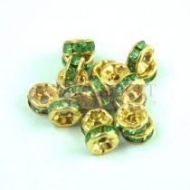Rondelle arany színű - peridot strasszal - 6mm