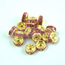 Rondelle arany színű - rose strasszal - 6mm
