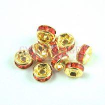 Rondelle arany színű - orange strasszal - 6mm