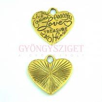 Medál -  Heart - arany színű - 23mm