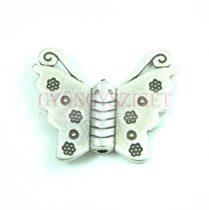 Köztes elem - pillangó - antik ezüst színű - 30x27mm