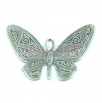 Köztes elem - pillangó - antik ezüst színű - 30x55mm