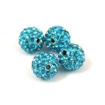 Köztes strasszos golyó - Turquoise Blue - 10mm