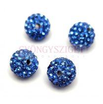 Köztes strasszos golyó - Sapphire - 10mm