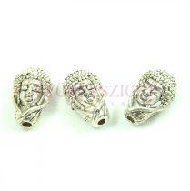 Fémgyöngy - Buddha fej - platina színű - 16x10mm
