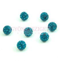 Köztes strasszos golyó - Turquoise Green - 8mm