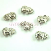 Fémgyöngy - elefánt - antik ezüst színű - 12x9mm