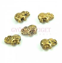Fémgyöngy - elefánt - antik arany színű - 12x9mm