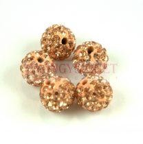 Köztes strasszos golyó - Rose Peach - 10mm