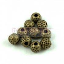 Fémgyöngy - Golyó - antik sárgaréz színű - 6mm