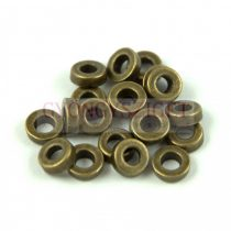 Fémgyöngy - Ring - antik sárgaréz színű - 6mm