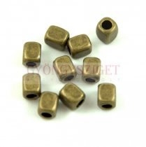 Fémgyöngy - kocka - sárgaréz színű - 6x5mm