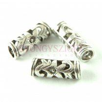 Köztes elem - díszitett cső - antik ezüst színű - 22x8mm