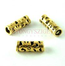 Köztes elem - díszitett cső - antik arany színű - 22x8mm