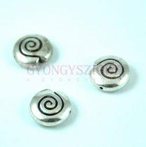 Medál - csiga - antik ezüst színű - 15mm