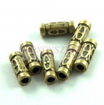 Köztes elem - díszitett cső - antik sárgaréz színű - 13x4mm