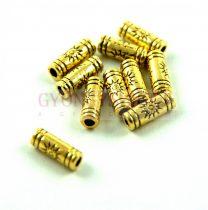 Köztes elem - cső - Nap - arany színű  - 9x3mm