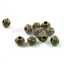 Fémgyöngy - golyó - Circles - sárgaréz színű - 5x6mm