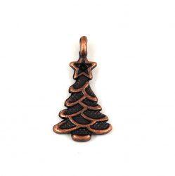 Medál - karácsonyfa - bronz színű - 21x11mm