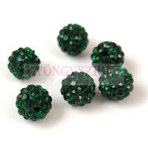 Köztes strasszos golyó - Emerald - 8mm